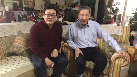 Chinese-Australian writer Yang Hengjun (left) pictured with prominent liberal intellectual Mao Yushi in an undated photo.