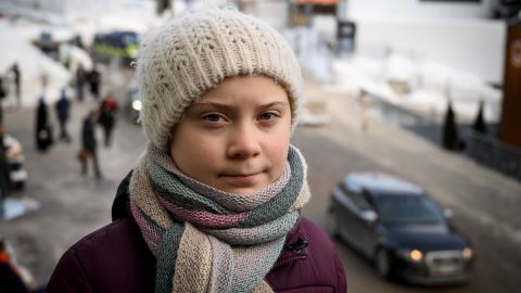 Swedish youth climate activist Greta Thunberg pose during an interview with AFP during the World Economic Forum (WEF) annual meeting, on January 23, 2019 in Davos, eastern Switzerland. (Photo by Fabrice COFFRINI / AFP)        (Photo credit should read FABRICE COFFRINI/AFP/Getty Images)