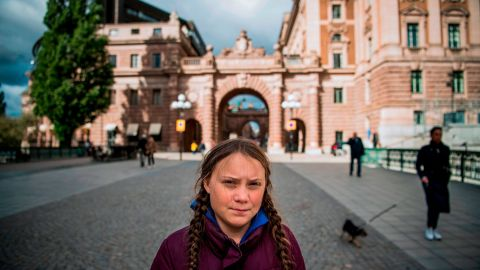 Thunberg pictured in front of the Swedish Parliament in September, where she goes on strike every week.