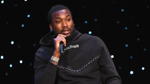 NEW YORK, NY - JANUARY 23:  Meek Mill speaks onstage during the launch of The Reform Alliance at John Jay College on January 23, 2019 in New York City.  (Photo by Nicholas Hunt/Getty Images for The Reform Alliance)