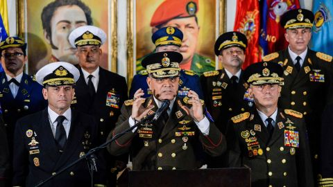 Venezuelan Defense Minister Vladimir Padrino, flanked by senior members of the country's military, speaks in support of President Nicolas Maduro on Thursday.