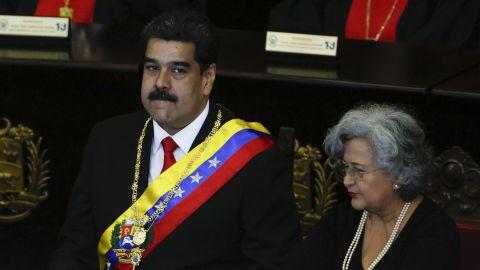 Venezuelan President Nicolas Maduro spoke at Venezuela's Supreme Court on Thursday.