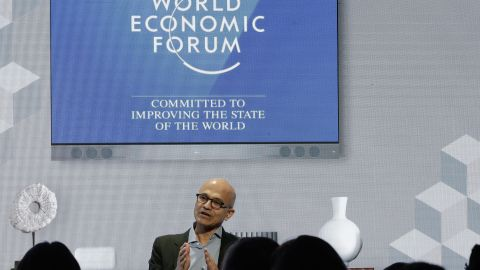 Microsoft's CEO Satya Nadella addresses the audience of a session at the annual meeting of the the World Economic Forum in Davos, Switzerland, Thursday, Jan. 24, 2019. (AP Photo/Markus Schreiber)