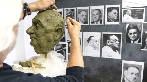 Sculptor Karel Fron was chosen to create the statue of Kurt Landaeur.