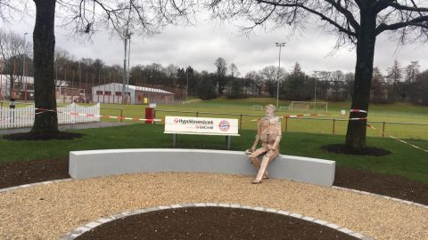 A mock up of the Kurt Landauer statue at the club's training ground.