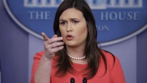 White House press secretary Sarah Sanders speaks during a press briefing at the White House, Monday, Jan. 28, 2019, in Washington. (AP Photo/ Evan Vucci)