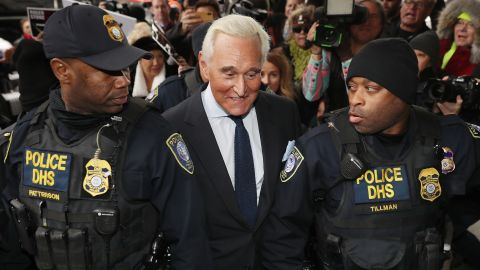 Roger Stone, a longtime adviser to President Donald Trump, arrives at the Prettyman United States Courthouse before facing charges from Special Counsel Robert Mueller that he lied to Congress and engaged in witness tampering January 29, 2019 in Washington, DC. (Chip Somodevilla/Getty Images)