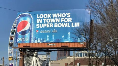 Pepsi billboards surround Atlanta's Centennial Olympic Park, just miles away from Coca-Cola's Headquarters and museum.