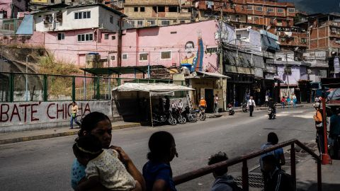 A Maduro mural is seen in the Petare slum of Caracas on Tuesday, January 29.