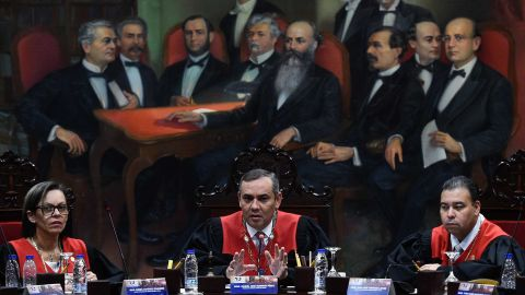 The president of Venezuela's Supreme Court, Maikel Moreno, speaks at a news conference in Caracas on January 29.
