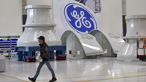An employee is seen on November 21, 2017 in Montoir-de-Bretagne, western France, at a factory of US company General Electric.   / AFP / LOIC VENANCE        (Photo credit should read LOIC VENANCE/AFP/Getty Images)