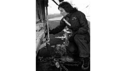 In this undated photo, Rosemary Conatser (later Mariner) makes pre-flight checks of an antisubmarine aircraft at Naval Air Station Oceana in Virginia Beach.