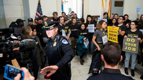 Members of the Sunrise movement protested in Congress days after the midterm elections.
