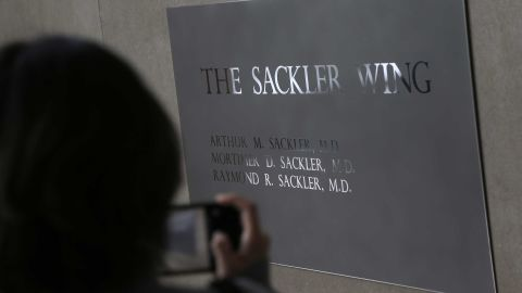 A sign with some names of the Sackler family is displayed at the Metropolitan Museum of Art in New York.