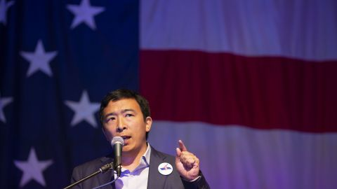 Andrew Yang, founder of Venture for America and 2020 Democratic presidential candidate, speaks during the Democratic Wing Ding event in Clear Lake, Iowa, U.S., on Friday, Aug. 10, 2018.