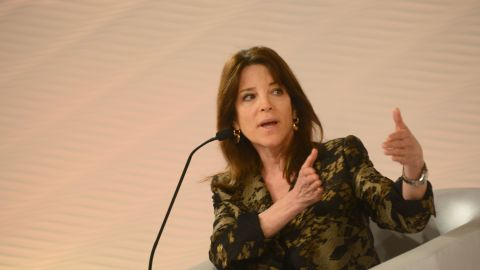 Marianne Williamson during a session on Religion, Consciousness and Spirituality. What Next? at Hindustan Times Leadership Summit 2015 on December 5, 2015 in New Delhi, India.