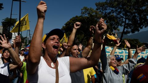 Opposition activists pour to the streets to back Venezuelan opposition leader Juan Guaido's calls for early elections, in Caracas on February 2, 2019. - Tens of thousands of protesters were set to pour onto the streets of Caracas to back self-proclaimed acting president Guaido's calls for early elections as international pressure increased on President Nicolas Maduro to step down. Major European countries have set a Sunday deadline for Maduro to call snap presidential elections. (Photo by Federico PARRA / AFP)        (Photo credit should read FEDERICO PARRA/AFP/Getty Images)