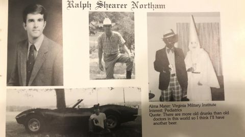 Virginia Gov. Ralph Northam's page in his 1984 Eastern Virginia Medical School yearbook. The page includes a picture, at right, of a person in blackface and another wearing a Ku Klux Klan hood. It's unclear who the people in the picture are, but the rest of the page is filled with pictures of Northam, and lists his undergraduate alma mater and other information about him.