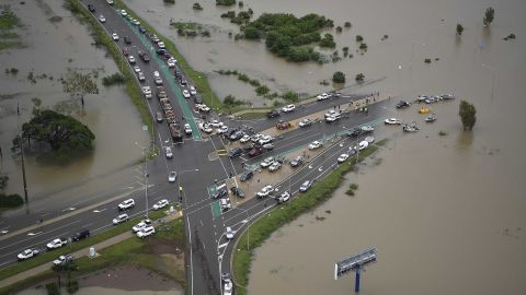 A general view of a blocked major intersection in the flooded Townsville suburb of Idalia on February 04, 2019 in Townsville, Australia.