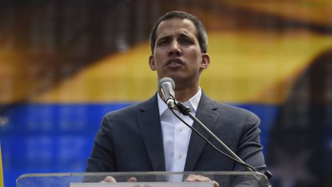 Opposition leader Juan Guaido delivers a speech during a gathering with thousands of supporters in Caracas on February 2, 2019. - Tens of thousands of protesters were set to pour onto the streets of Caracas to back self-proclaimed acting president Guaido's calls for early elections as international pressure increased on President Nicolas Maduro to step down. Major European countries have set a Sunday deadline for Maduro to call snap presidential elections. (Photo by Juan BARRETO / AFP)        (Photo credit should read JUAN BARRETO/AFP/Getty Images)