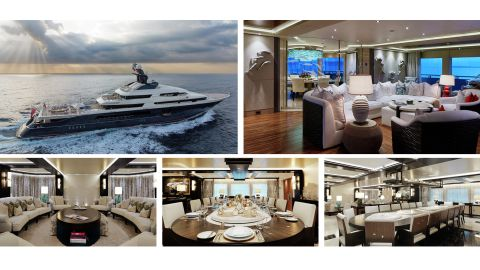 Photos from an auction site showing The Equanimity, a 91.5m (300 ft) yacht seized by the Malaysian government in 2018. It was allegedly funded using money embezzled from the 1MDB fund and intended for the use of Malaysian financier Jho Low.