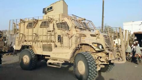 An American-made MRAP in the hands of the Giants Brigade militia in Yemen.