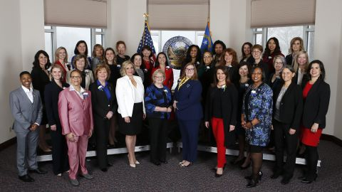 Thirty-two female members of the Nevada Legislature pose for photos before the start of the 80th Legislative Session, in Carson City, Nev., on Monday, Feb. 4, 2019. The group represents the first female majority Legislature in the country. Photo by Cathleen Allison/Nevada Momentum
