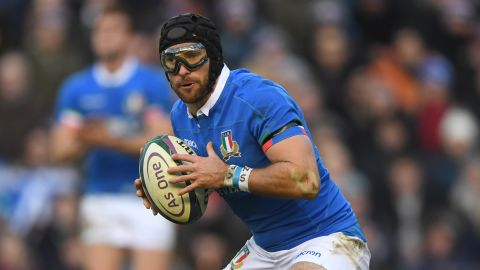 EDINBURGH, SCOTLAND - FEBRUARY 02: Italy player Ian McKinley wearing protective glasses in action during the Guinness Six Nations Championship match between Scotland and Italy at Murrayfield on February 02, 2019 in Edinburgh, Scotland. (Photo by Stu Forster/Getty Images)