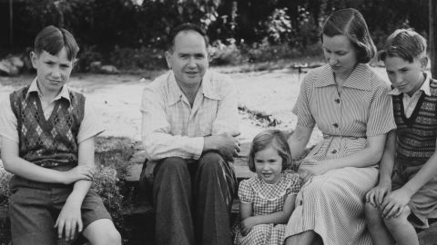 Australian physicist Eric Burhop (center), with his family at their home in Surbiton, London, 22nd July 1951. Burhop's passport was canceled by the British government over plans to travel to the Soviet Union.