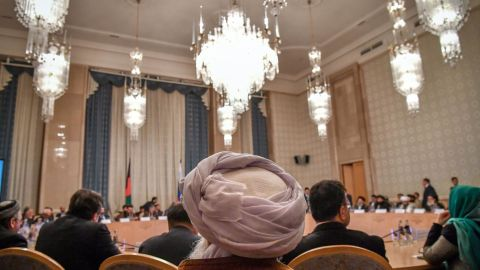 Participants attend the first of a two-day conference on Afghanistan at the President Hotel in Moscow on Tuesday.