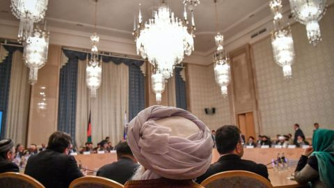 Participants attend the opening of the two-day talks of the Taliban and Afghan opposition representatives at the President Hotel in Moscow on February 5, 2019. (Photo by Yuri KADOBNOV / AFP)        (Photo credit should read YURI KADOBNOV/AFP/Getty Images)