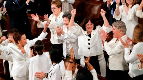 Women members of Congress cheer after President Donald Trump acknowledges more women in Congress during his State of the Union address to a joint session of Congress on Capitol Hill in Washington, Tuesday, Feb. 5, 2019. (AP Photo/J. Scott Applewhite)