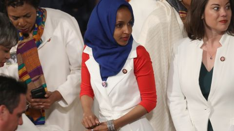 WASHINGTON, DC - FEBRUARY 05:  Rep. Ilhan Omar (D-MN) looks on ahead of the State of the Union address in the chamber of the U.S. House of Representatives at the U.S. Capitol Building on February 5, 2019 in Washington, DC. A group of female Democratic lawmakers chose to wear white to the speech in solidarity with women and a nod to the suffragette movement.  (Photo by Win McNamee/Getty Images)