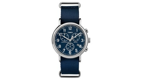 """<strong>Timex Weekender Watch ($56.99; </strong><a href=""""https://www.timex.com/weekender-chrono-40mm-nylon-strap-watch/Weekender-Chrono-40mm-Nylon-Strap-Watch.html?dwvar_Weekender-Chrono-40mm-Nylon-Strap-Watch_color=Silver-Tone-Blue&cgid=men-sale#start=1"""" target=""""_blank"""" target=""""_blank""""><strong>timex.com</strong></a><strong>) </strong>"""