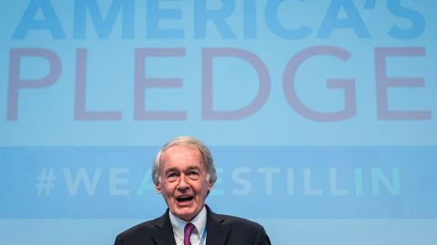 Sen. Ed Markey has been involved in environmental policy for years, here attending the COP23 conference in 2017.