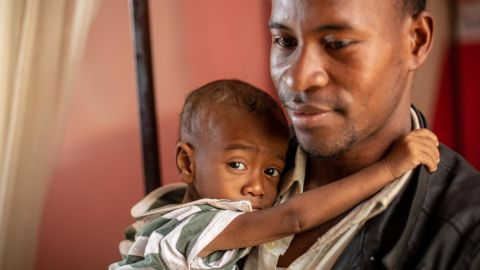 shot in Antananarivo, Madagascar    IMGL0735- Credit: Brent Swails/CNN Jean Claude Nambinintsoa travelled for twenty-four hours in a mini-bus taxi to get his son Pierrot to the hospital. ÒI was hoping to get him vaccinated,Ó he says as Pierrot clings to his neck, gently caressing his ear, Òbut when I got here they said that my son already had measles.Ó He says that many children in his village got sick.