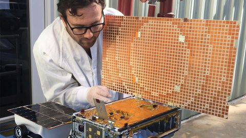 This is one of the MarCO spacecraft that followed InSight to Mars, a suitcase-sized CubeSat that helped communicate the successful landing of InSight with NASA.
