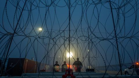 A toy is seen from Piedras Negras, Coahuila state, Mexico as members of the US Border Police guard the international bridge in Texas, on February 6, 2019. -  (Photo by Julio Cesar AGUILAR / AFP)
