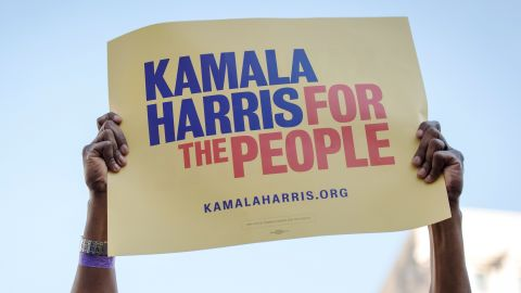 An attendee holds a placard as Senator Kamala Harris, a Democrat from California, not pictured, speaks during an event to launch presidential campaign in Oakland, California, U.S., on Sunday, Jan. 27, 2019.