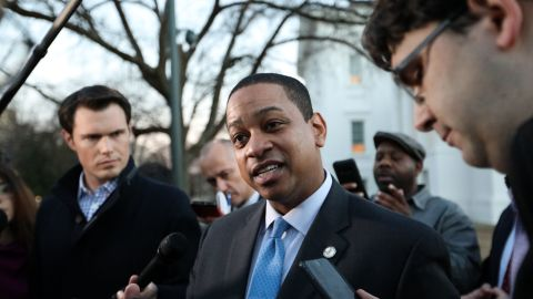 Virginia Lieutenant Governor Justin Fairfax addresses the media about a sexual assault allegation from 2004 outside of the Capitol in dowtown Richmond, Virginia, February 4, 2019.