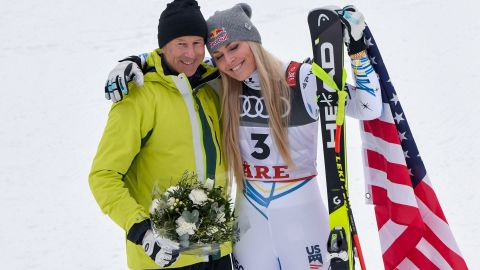 """The American retired four wins short of equaling Stenmark's record of 86 World Cup wins and the Swedish great (left) was in Are to watch Vonn's final race. """"I basically begged him to come here,"""" Vonn said."""