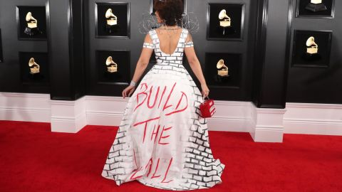 """Joy Villa shows her support for the wall that President Donald Trump wants to build at the US-Mexico border. The back of her dress says """"build the wall."""""""