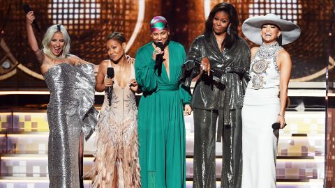 Alicia Keys, center, appears onstage with (from left) Lady Gaga, Jada Pinkett Smith, Michelle Obama, and Jennifer Lopez during the 61st  Annual Grammy Awards in February 2019.