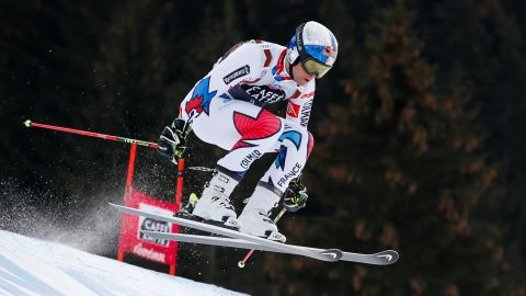France's Alexis Pinturault searches for speed en route to a third-placed finish in Alta Badia, Italy.<br />