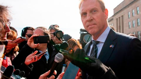Acting Secretary of Defense Patrick Shanahan (R) speaks with reporters as he awaits the arrival of NATO Secretary General Jens Stoltenberg at the Pentagon in Washington, DC, on January 28, 2019. (Photo by Jim WATSON / AFP)        (Photo credit should read JIM WATSON/AFP/Getty Images)