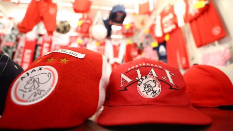 AMSTERDAM, NETHERLANDS - DECEMBER 12:  Merchandise is seen for sale prior to the UEFA Champions League Group E match between Ajax and FC Bayern Muenchen at Johan Cruyff Arena on December 12, 2018 in Amsterdam, Netherlands.  (Photo by Dean Mouhtaropoulos/Getty Images)