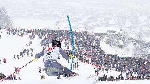 Jonathan Nordbotten slaloms towards the Kitzbuhel faithful on a snow-filled day in Austria.