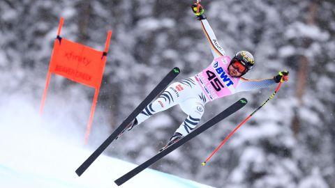 Klaus Brandner looks to regain his balance as he races in Beaver Creek, Colorado.