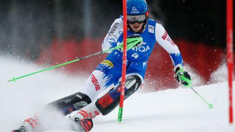 Petra Vlhova in action at the women's slalom in Semmering, Austria.