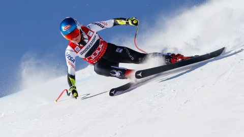 Mikaela Shiffrin gets low to the ground in St Moritz, where she won the parallel slalom and super-G events.<br /><br />